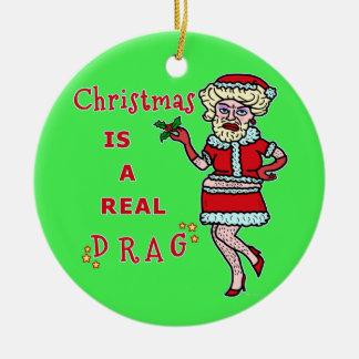 Funny Christmas Bah Humbug Santa in Drag Ceramic Ornament