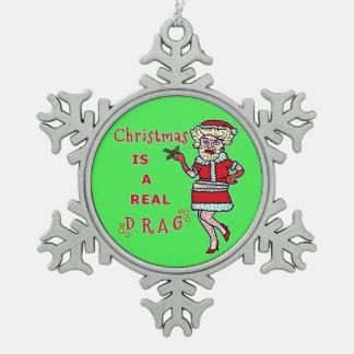 Funny Christmas Bah Humbug Santa in Drag Snowflake Pewter Christmas Ornament