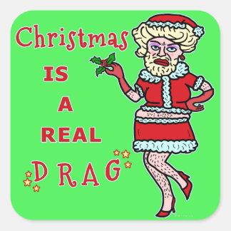 Funny Christmas Bah Humbug Santa in Drag Square Sticker