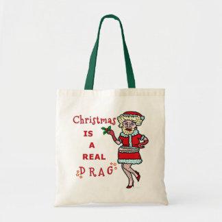 Funny Christmas Bah Humbug Santa in Drag Tote Bag