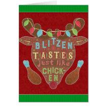 Funny Christmas Blitzen Chicken Reindeer Humor Card