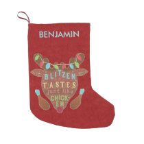 Funny Christmas Blitzen Chicken Reindeer Humor Small Christmas Stocking
