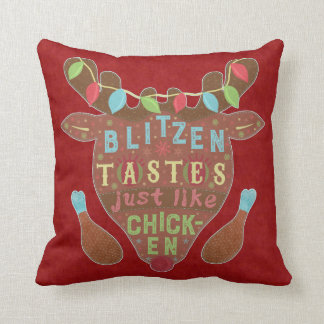 Funny Christmas Blitzen Chicken Reindeer Humor Throw Pillow