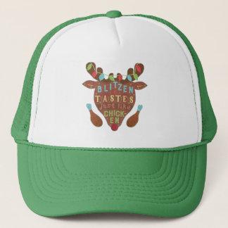 Funny Christmas Blitzen Chicken Reindeer Humor Trucker Hat