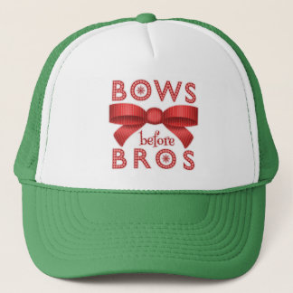 Funny Christmas Bows Before Bros Cute Trucker Hat