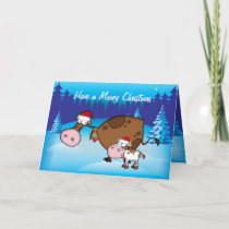 Funny Christmas Card  Cow and Calf