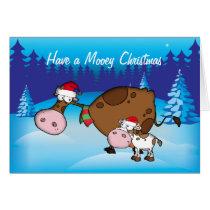 Funny Christmas Card  Cow and Calf