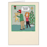Funny Christmas card: Dog Under Mistletoe Greeting Card
