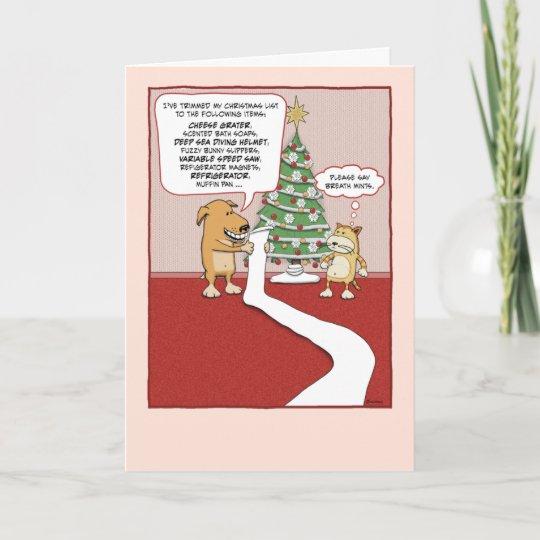 Funny Christmas Card: Dog's Wish List Holiday Card