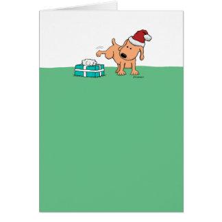 Funny Christmas Card: Peeing Dog Card