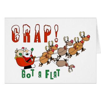 Funny Christmas Card Santa Got a Flat