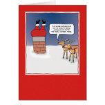 Funny Christmas card: Santa Stuck Greeting Card