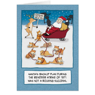 Funny Christmas card Sleigh Cats