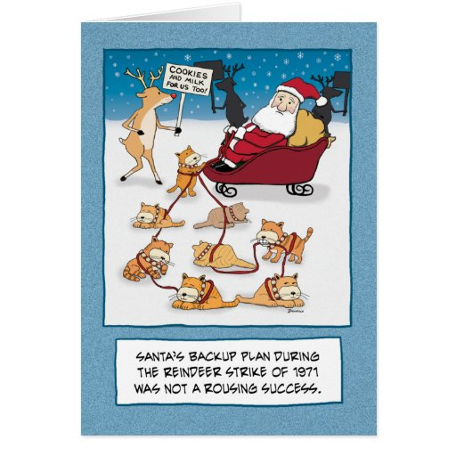 funny christmas card sleigh cats zazzle. Black Bedroom Furniture Sets. Home Design Ideas