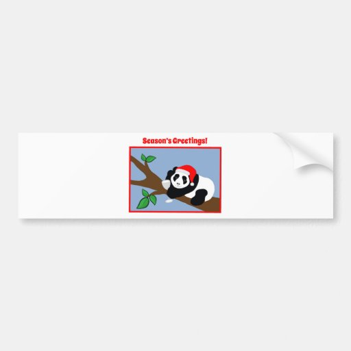 Funny Christmas Cards Panda Bear Santa with Wine Bumper Stickers
