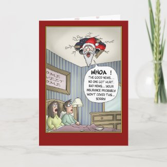 Funny Christmas Cards: Rough Landing card