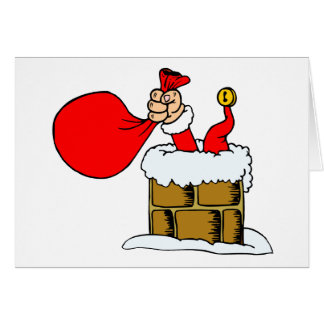 Funny Christmas Cards Santa Claus Chimney Accident