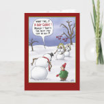 "Funny Christmas Cards: Size Matters Holiday Card<br><div class=""desc"">A cartoon Christmas greeting card with a cartoon of a Snowman letting a kid know how displeased he is with the choices he has made in putting him together. The inside of the card reads ""Wishing you a very Merry Christmas and Happy Holidays filled with fun…food and family.</div>"