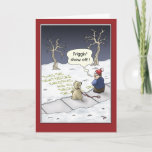 """Funny Christmas Cards: Steady Flow Holiday Card<br><div class=""""desc"""">A cartoon Christmas greeting card with a cartoon of a boy and his dog writing in the snow. The inside of the card reads """"Hope the Holiday's bring you a steady stream of happiness.</div>"""