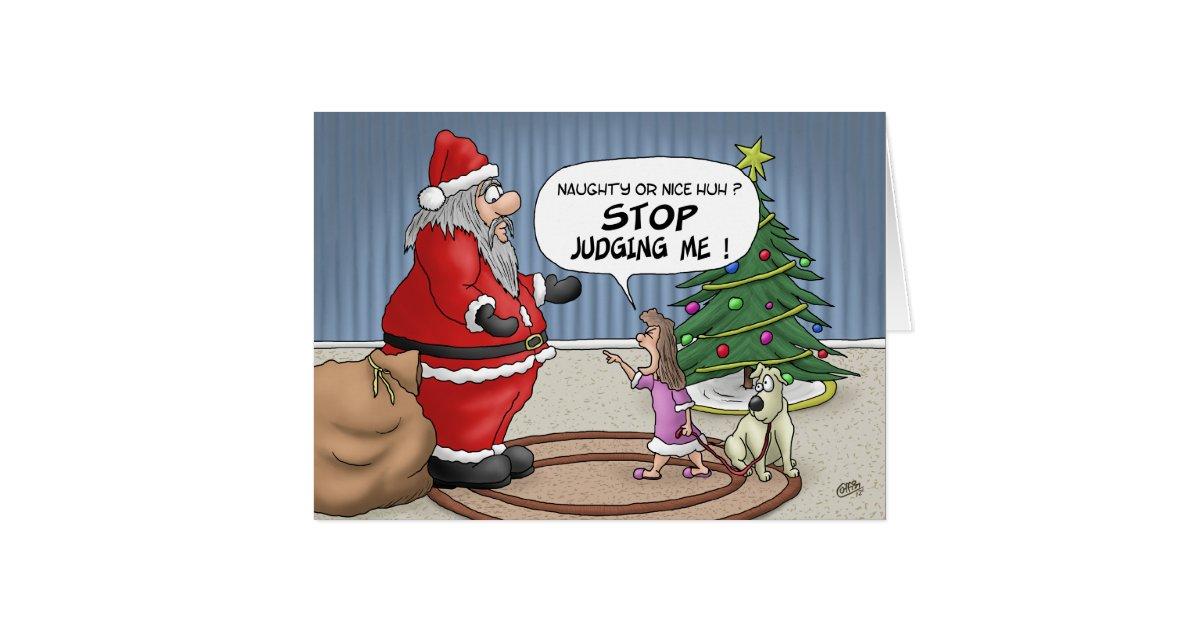 funny christmas cards stop judging card zazzle. Black Bedroom Furniture Sets. Home Design Ideas