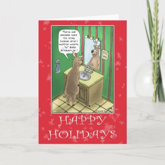 Funny Christmas Cards: Working Christmas Eve Holiday Card   Zazzle.com