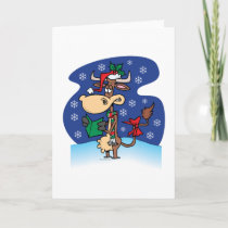 funny christmas caroling cow cartoon holiday card
