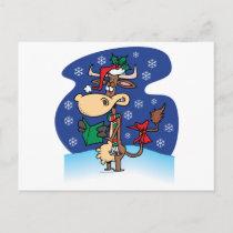 funny christmas caroling cow cartoon holiday postcard