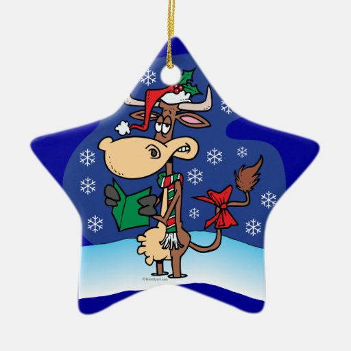 funny christmas caroling cow cartoon Double-Sided star ceramic christmas ornament
