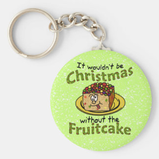 Funny Christmas Cartoon Fruitcake Basic Round Button Keychain