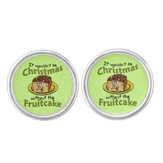 Funny Christmas Cartoon Fruitcake Cufflinks
