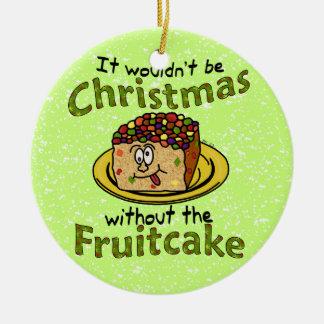 Funny Christmas Cartoon Fruitcake Double-Sided Ceramic Round Christmas Ornament