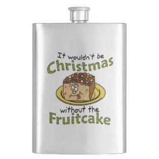 Funny Christmas Cartoon Fruitcake Hip Flask