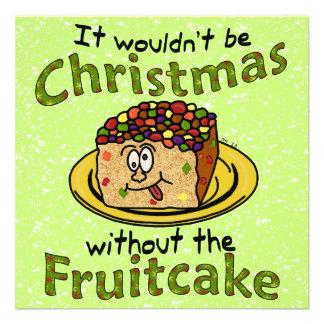 Funny Christmas Cartoon Fruitcake Invites