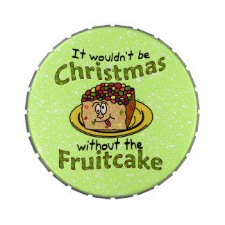 Funny Christmas Cartoon Fruitcake Jelly Belly Tins