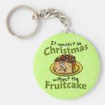 Funny Christmas Cartoon Fruitcake Keychain