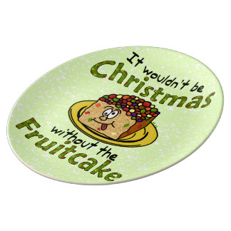 Funny Christmas Cartoon Fruitcake Porcelain Plates