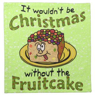 Funny Christmas Cartoon Fruitcake Printed Napkin