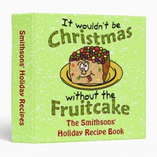 Funny Christmas Cartoon Fruitcake Recipe Binder