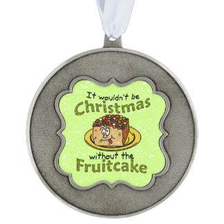Funny Christmas Cartoon Fruitcake Scalloped Pewter Christmas Ornament
