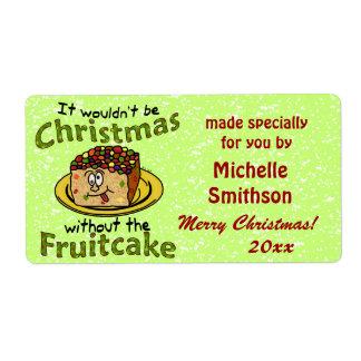 Funny Christmas Cartoon Fruitcake Shipping Label