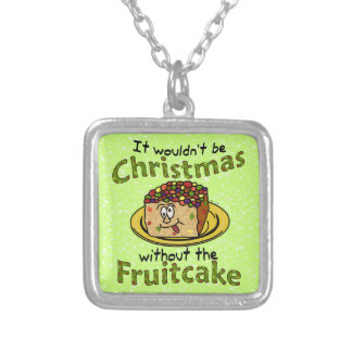 Funny Christmas Cartoon Fruitcake Square Pendant Necklace
