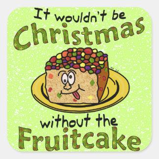 Funny Christmas Cartoon Fruitcake Square Sticker