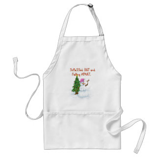 Funny Christmas cartoon of lady snowman Adult Apron