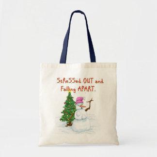 Funny Christmas cartoon of lady snowman Bag