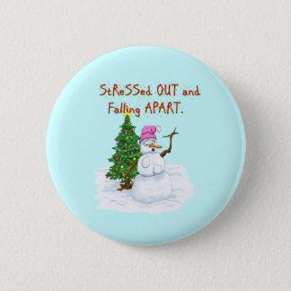 Funny Christmas cartoon of lady snowman Button