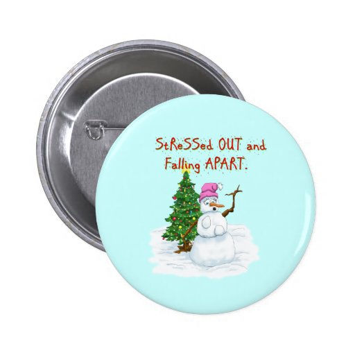Funny Christmas cartoon of lady snowman Buttons