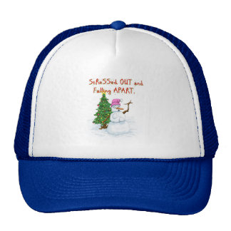Funny Christmas cartoon of lady snowman Trucker Hat