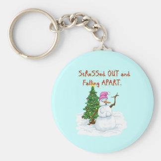 Funny Christmas cartoon of lady snowman Keychain