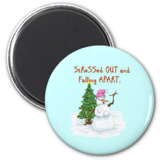 Funny Christmas cartoon of lady snowman Magnet