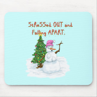 Funny Christmas cartoon of lady snowman Mouse Pad